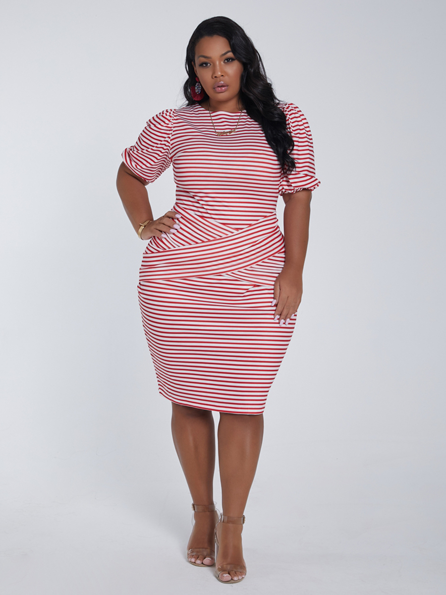 Lovely Plus Size Casual O Neck Striped Cross-over