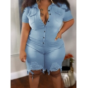 Lovely Stylish Broken Holes Pocket Design Blue Plus Size Denim One-piece Romper