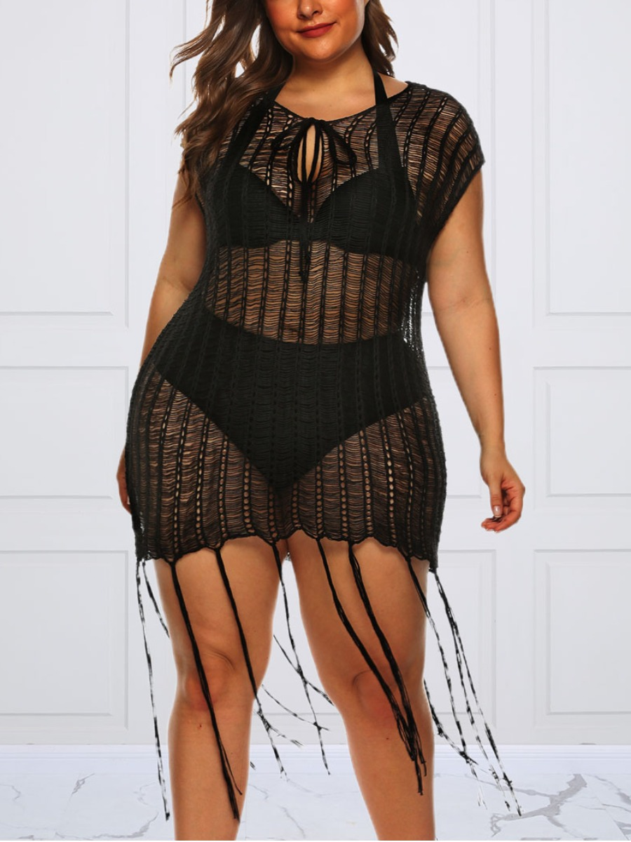 Lovely Sexy See-through Tassel Design Black Plus S