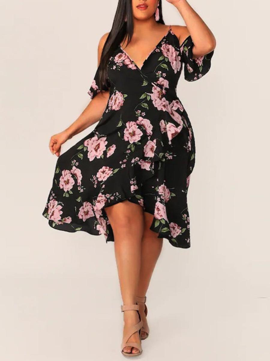 Lovely Boho Floral Print Flounce Design Black Knee