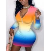 Lovely Sweet Gradient Zipper Design Multicolor Mini Dress