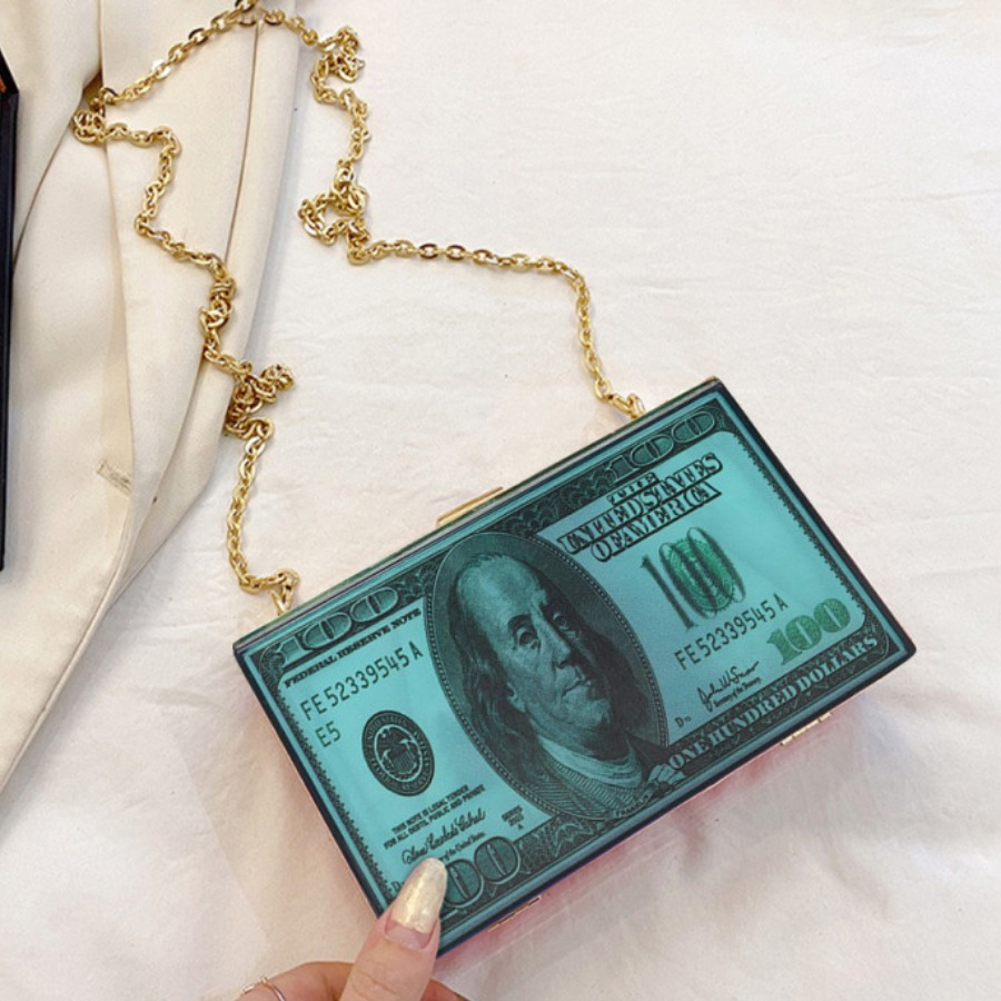 Lovely Street Money Print Chain Strap Green Crossb