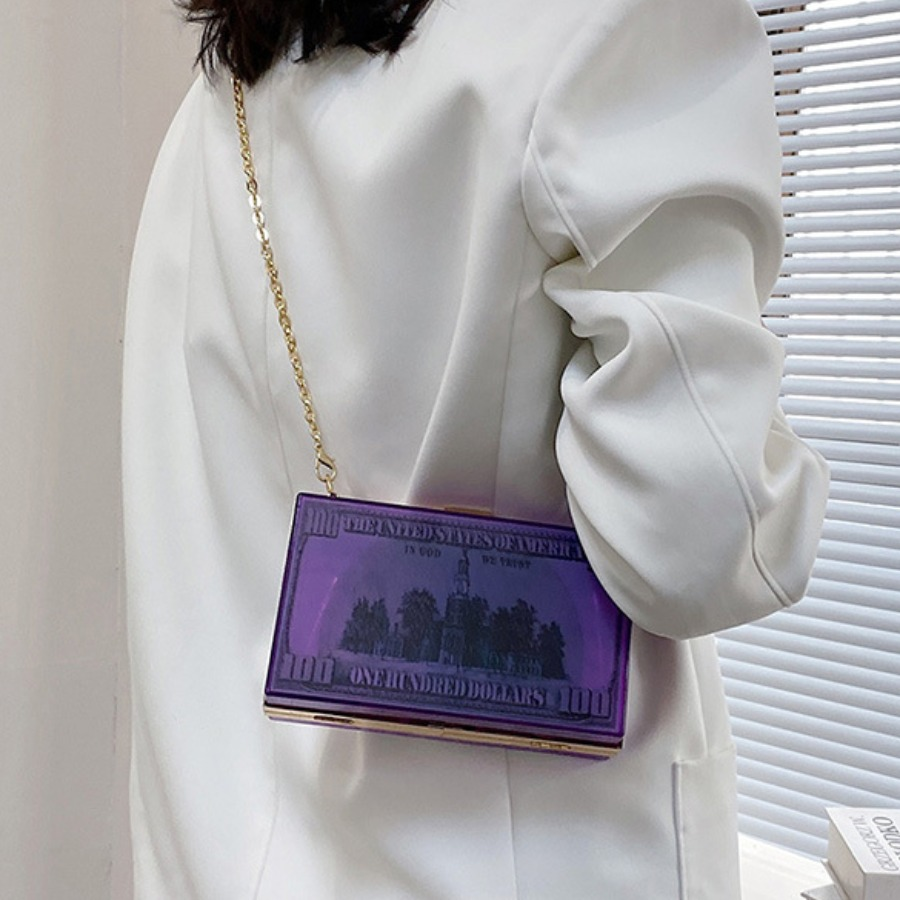 Lovely Street Money Print Chain Strap Purple Cross