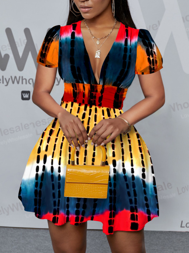 Lovely Casual Tie-dye Flounce Design Multicolor Mi