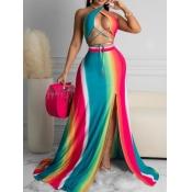 Lovely Boho Bandage Design Striped Split Multicolor Two Piece Skirt Set