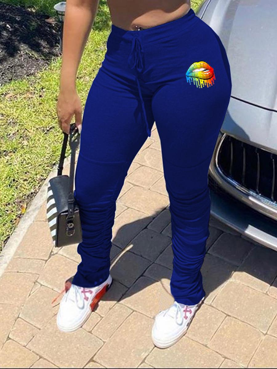 Lovely Sportswear Lip Print Blue Pants